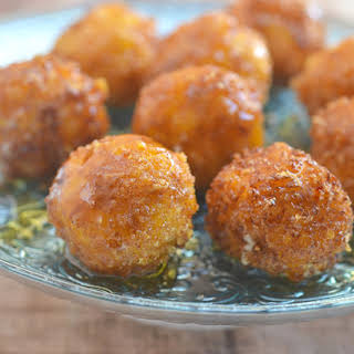 Fried Goat Cheese Balls with Honey.
