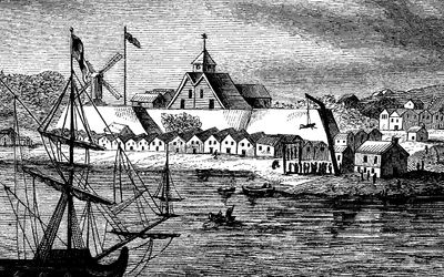Drawing of Fort Amsterdam in the 17th century.