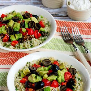 Low-Carb Ground Beef Cauliflower Rice Taco Bowls.