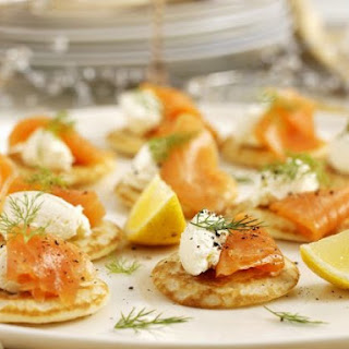 Miniature Russian Pancakes with Smoked Salmon