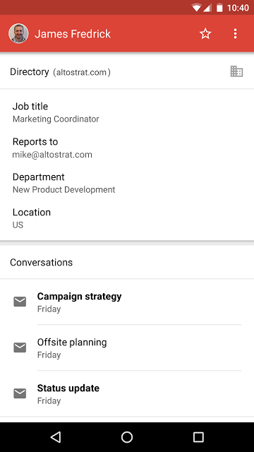 Directory card in Gmail Android app