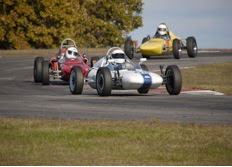 Photo: Mike Callahan leads rival Bill Griffith at Hallett Motor Racing Circuit 2009