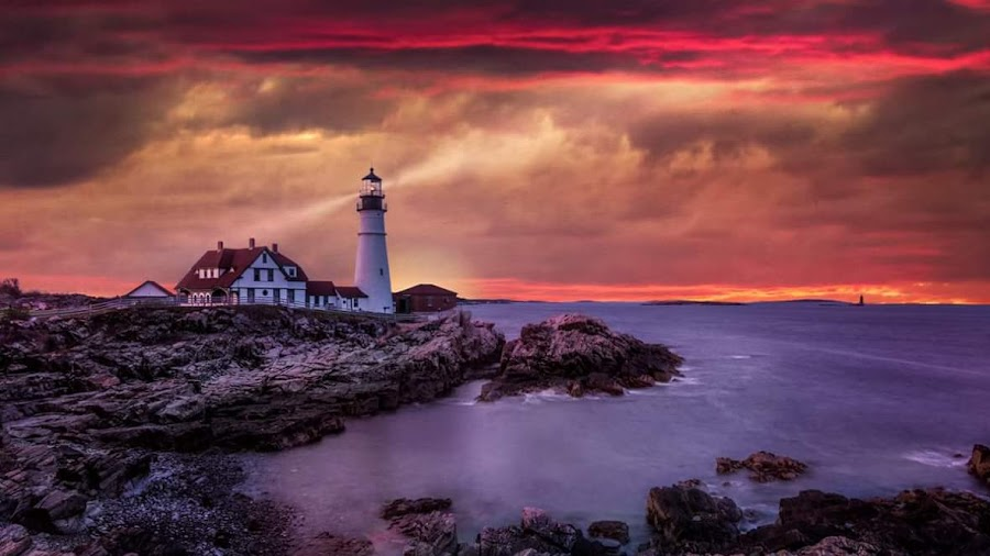 Portland  headlight  by Kathy Val - Landscapes Sunsets & Sunrises ( sunset, lighthouse, ocean,  )