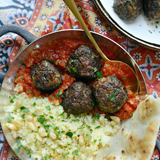 North African Spiced Lamb Meatballs with Roasted Red Pepper Harissa Recipe