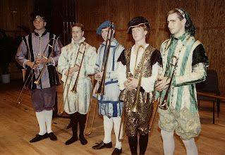 Photo: April 7, 1991: Colossal Baroque concert with the combined CMA and EME ensembles; sackbuts here: Carl Hancock, Mark Britt, Michael O'Connor, Steven Spaulding, Jolyon Helterman