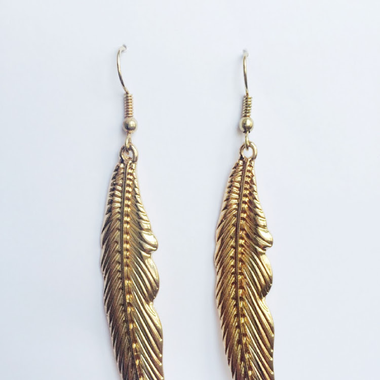 E034 - G. Missy Feathered in Gold Earrings by House of LaBelleD.
