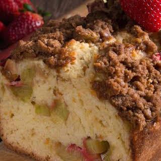 Apple Rhubarb Cake with Strawberries.