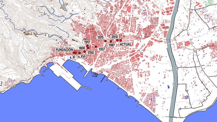 Desplazamiento histórico del centro urbano (manzanas consolidadas).