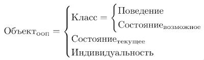 Объект = Класс + Состояние(текущее) + Индивидуальность