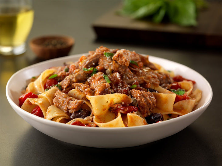Pork Pappardelle Puttanesca with Basil and Pecorino Cheese Recipe