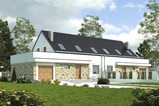 projekt Sosnówka z garażem 1-st. bliźniak A-BL2