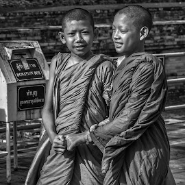 Young Monks by Rick Pelletier - Novices Only Portraits & People