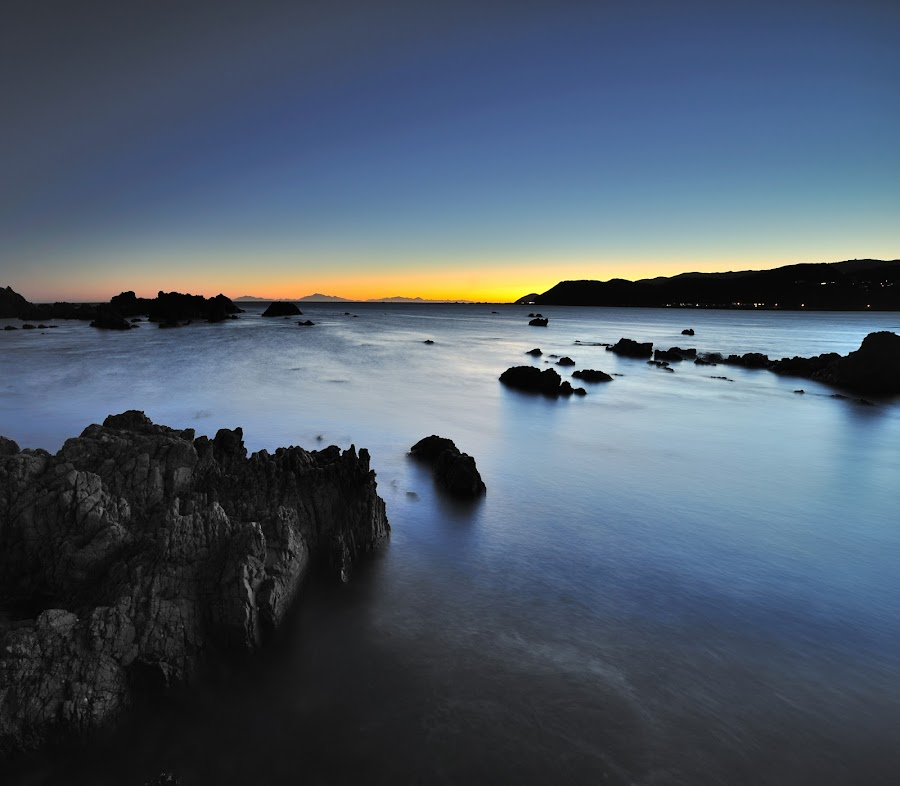 Sunset at Moa Point by Nadly Aizat Nudri - Landscapes Waterscapes ( sunset, long exposure, wellington, slow shutter )