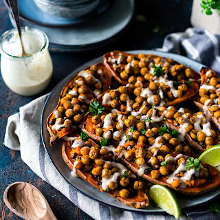 Moroccan Chickpea Stuffed Double Baked Sweet Potatoes.