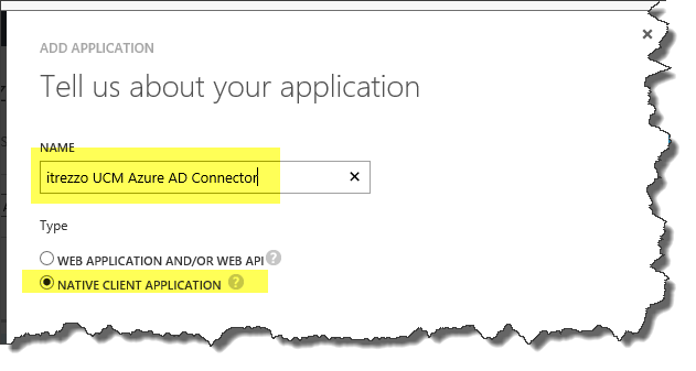 Choose Azure AD Native Application
