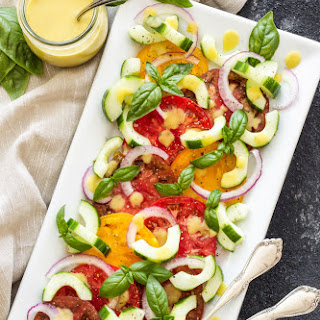 Heirloom Tomato Cucumber Salad with Peach Vinaigrette