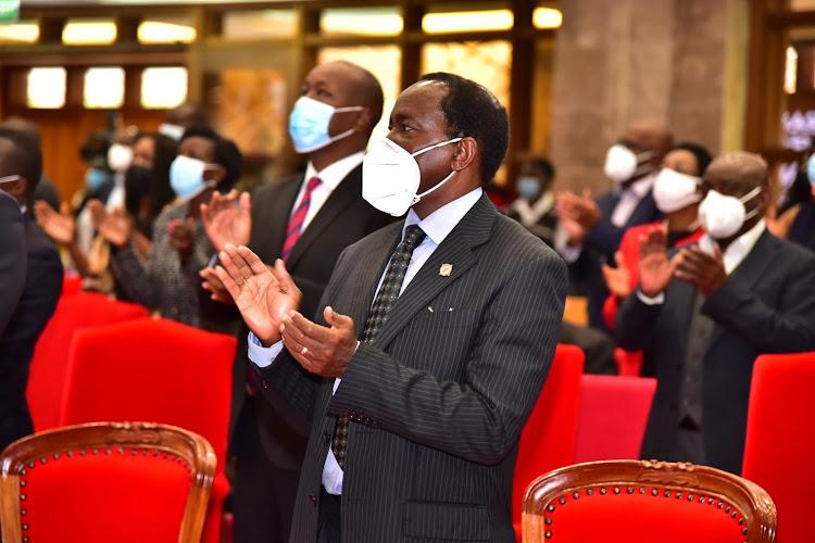 Wiper Leader Kalonzo Musyoka during the memorial service of the Chris Kirubi at Faith Evangelistic Ministry (FEM) Church in Karen on June 18, 2021.