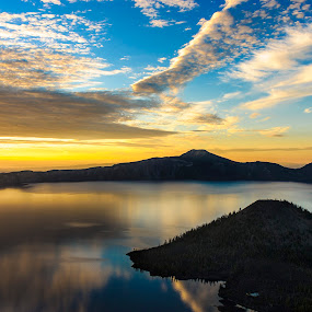 Crater Lake Sunrise by Jim O'Neill - Landscapes Waterscapes ( oregon, crater lake, lakes, national parks, sunrise )