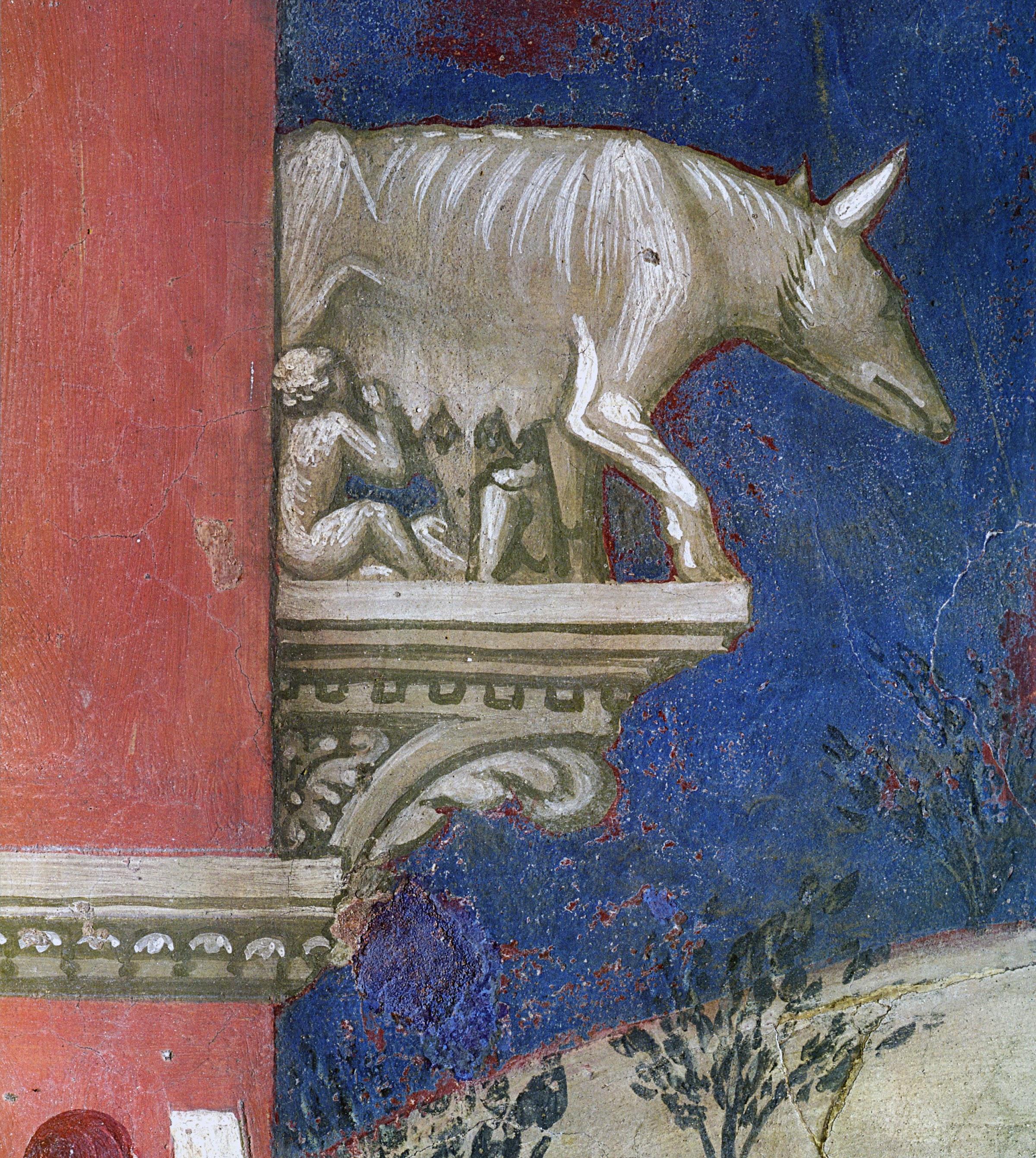 Ambrogio Lorenzetti, Effetti del Buon Governo in campagna, (particolare della Lupa romana sulle mura cittadine), Palazzo Pubblico, Siena