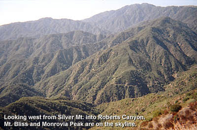 Photo: View west from Silver Mountain into Roberts Canyon with Mt. Bliss and Monrovia Peak on the skyline