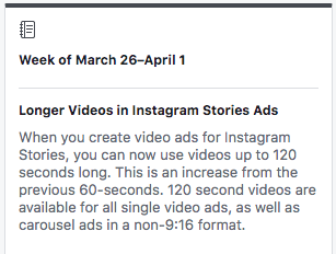 Instagram Stories Ads News - you can now use videos up to 120 seconds long. This is an increase from the previous 60-seconds