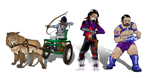 This illustration depicts three characters, each from a different genre of story, and each with a disability. On the left is a black gnome archer riding in a chariot pulled by a large brown dog. The chariot has a chair in it so that they can sit instead of stand. In the middle is a Latina woman manipulating a tech device on her wrist as she begins to go invisible. She is wearing an air filtering mask of the type that people with Multiple Chemical Sensitivity sometimes wear. On the right is a white muscular superhero wearing a very gay, blue superhero outfit. He has lightning crackling between his two hands, which are shaped atypically. This beautiful work of art was created the amazing Rose Adare!