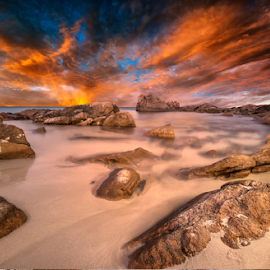 On Sunset by Greg Tennant - Landscapes Sunsets & Sunrises ( waterscape, sunset, rocks, coast )