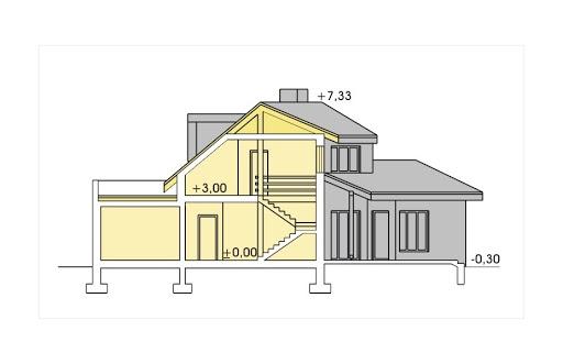 Bursztyn wersja A z pojedynczym garażem - Przekrój