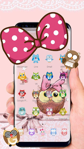 Cute Cartoon Owl Bowknot Theme 1.1.2 screenshots 2