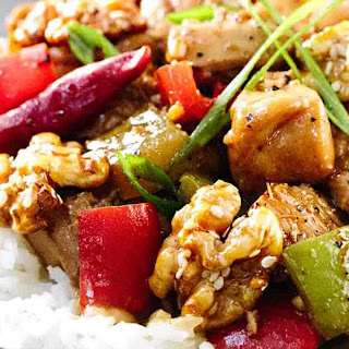 Kung Pao Chicken with Honey Glazed Walnuts