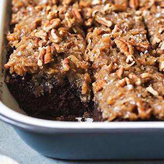 German Chocolate Snack Cake With Coconut-Pecan Frosting.