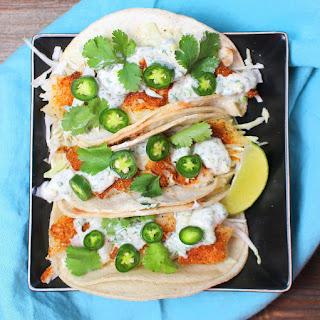 Healthy Fish Tacos with Cilantro-Lime Crema