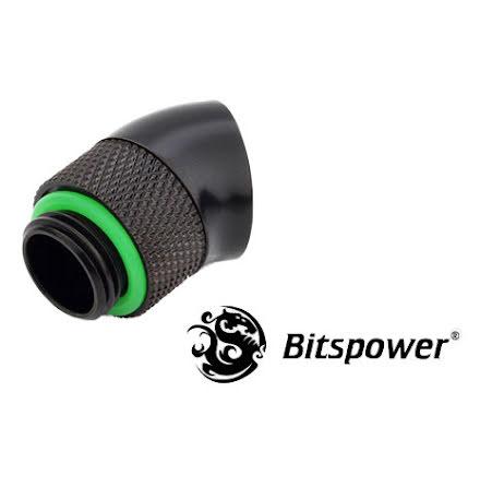 """Bitspower svivel, 30°, 1/4""""BSPx1/4""""BSP, Matt Black"""