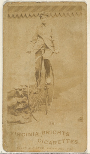 Card 35, from the Girl Cyclists series (N49) for Virginia Brights Cigarettes