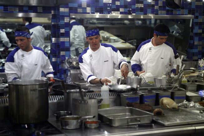 Photo: HELL'S KITCHEN: Contestants (L-R) Justin, Patrick and Don prepare dishes during dinner service on the second part of the two-night Season 10 premiere of  HELL'S KITCHEN airing Monday, June 4 (8:00-9:00 PM ET/PT) and Tuesday, June 5 (8:00-9:00 PM ET/PT) on FOX. ©2012 Fox Broadcasting Co. Cr: Greg Gayne/FOX