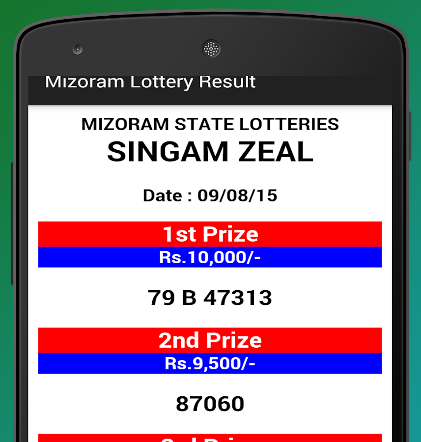 Mizoram Lottery Results- screenshot