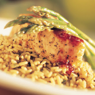 Salmon and Raspberry Glaze on Wild Rice With Fresh Asparagus