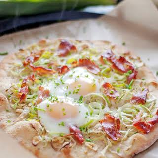 Prosciutto, Eggs, and Leek Pizza.