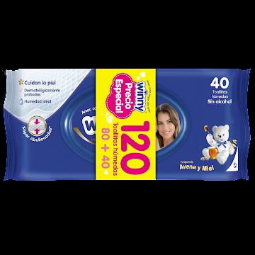 OFT Toallitas humedas   Winny Avena y Miel Paq X 80+40 Precio Especial
