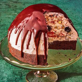 Christmas Bombe with Spiced Cake and Chocolate-Brandy Glaze recipe | Epicurious.com.