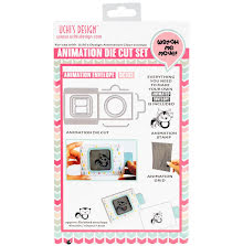 Uchi´s Animation Clear Stamp, Die And Grid Set - Skunk Envelope