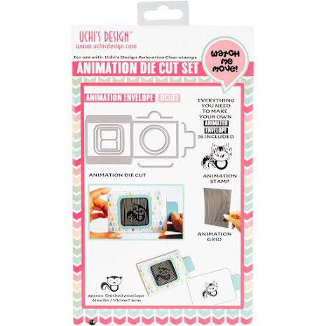 Uchi´s Animation Clear Stamp, Die And Grid Set - Skunk Envelope