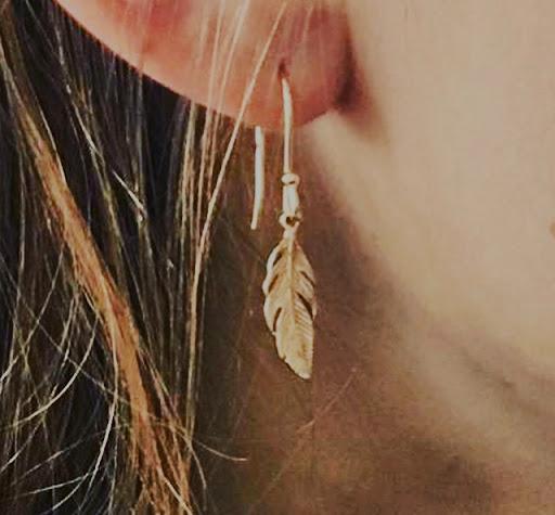 boucles d'oreilles PLUME pendante