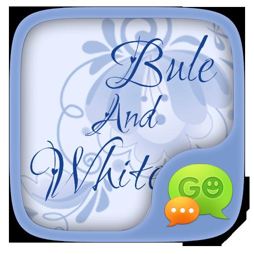 (FREE) GO SMS BLUE&WHITE THEME