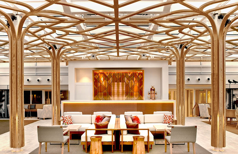 Wintergarden, the lounge on your Viking ocean ship where afternoon tea is served daily, sports a retractable roof.