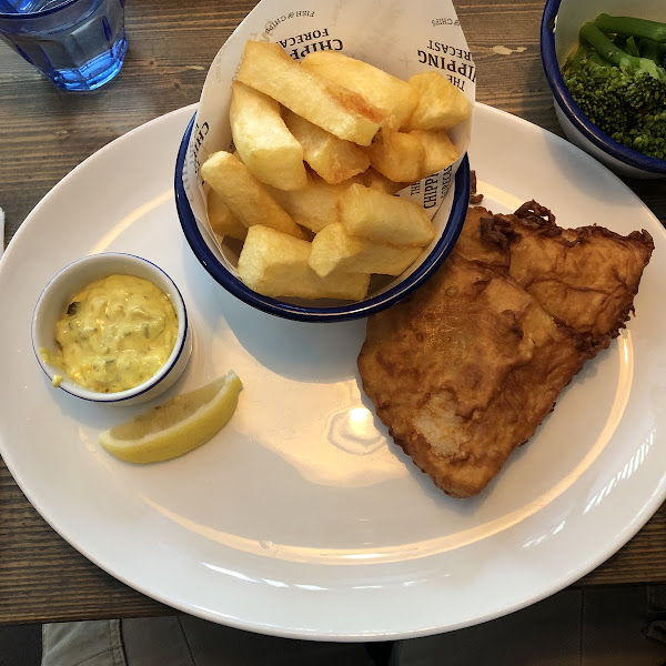 GF cod and chips with broccoli instead of peas!