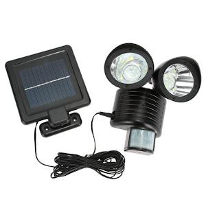 Lampa dubla cu panou solar, cu senzor de miscare, cablu 5 Metri
