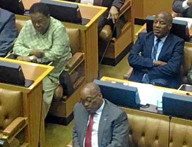 APPLYING HIS MIND President Jacob Zuma dozes as Finance Minister Malusi Gigaba admits in parliament on Wednesday that the economy is in deep trouble Picture: Ranjeni Munusamy