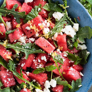 Watermelon Salad with Arugula, Feta, & Fresh Herbs.