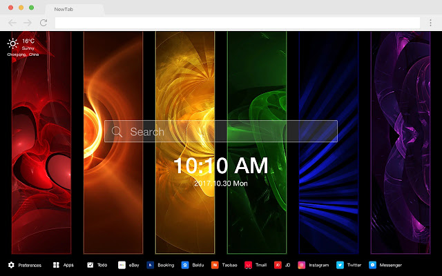 Color New Tab Page HD Colorful Top Theme